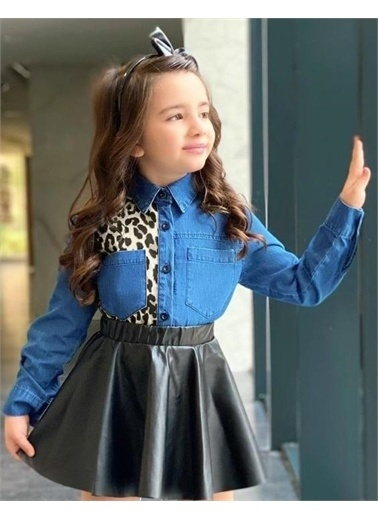 Riccotarz Kız Çocuk Leopar Detaylı Deri Etekli Takım Renkli